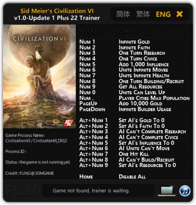 Трейнер Civilization 6 [vUpdate 1 / 1.0.0.38] (+22)