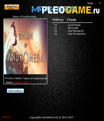 Трейнер Dawn of Andromeda (+4) [v1.00)